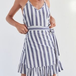 Vetiver Ali Stripe Wrap Ruffle Dress Size 8